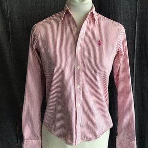Ralph Lauren Dark Pink White Stripe Slim Fit sz 2